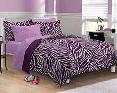 Purple zebra bedding twin xl full queen teen girl bed in a bag dorm comforter set designs bedroom retro style decoration black printed Teen Girl Bedding, Twin Xl Bedding, Dorm Bedding, Comforter Sets, Girls Bedroom, Bedroom Decor, Bedroom Ideas, Bedroom Designs, Purple Bedrooms