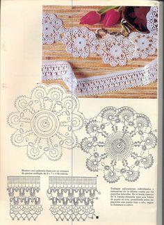 World crochet: Motive 16 Crochet Boarders, Crochet Edging Patterns, Crochet Lace Edging, Crochet Motifs, Crochet Diagram, Doily Patterns, Crochet Chart, Crochet Trim, Love Crochet
