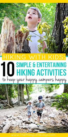 10 simple activities that will make hiking fun for kids – The Many Little Joys If you want to get your family out in nature, but you're tired of the complaints, try out these 10 activities that will make hiking fun for kids (and grown-ups, too). Outdoor Activities For Kids, Activities To Do, Toddler Activities, Outdoor Learning, Camping Activities, Camping Tips, Outdoor Fun For Kids, Hiking With Kids, Family Outing