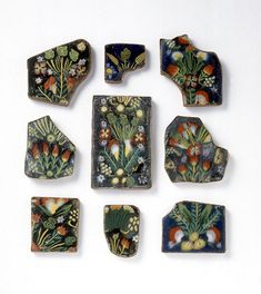 Romano-Egyptian Mosaic Glass Decorative Plaques with Vegetation Motifs by Ancient Art, via Flickr