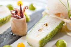 Photo of: Crumbed John Dory, fennel, mandarin and cardomon gel, baby squid, Pied à Terre, Central London restaurant