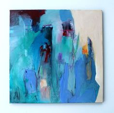 "Urban Abstract Art Blue Green Acrylic Painting ""Portland in the Rain"" Kerri Blackman"