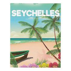 Seychelles beach travel poster panel wall art