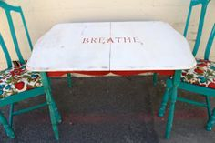 Whimsical Farmhouse Kitchen Table and Chairs Hand Painted on Etsy, $300.00
