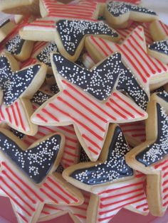 Happy Memorial Day Custom Decorated Cookies from Patriotic Desserts, 4th Of July Desserts, Fourth Of July Food, 4th Of July Celebration, 4th Of July Party, July 4th, Patriotic Sugar Cookies, Patriotic Party, Star Sugar Cookies
