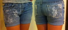 Just made these super cute shorts out of old jeans and lace!!!