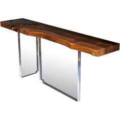 A Walnut and Lucite Console | From a unique collection of antique and modern console tables at http://www.1stdibs.com/furniture/tables/console-tables/