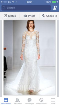 Modern white netting long arms wedding dress