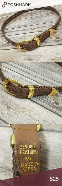 "Brown Braided Leather Belt Brown Braided style genuine leather belt with gold hardware. No stains or tears. Measures 40"" when laid out flat. Size M/L. Like new condition! Accessories Belts"