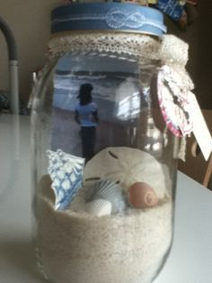 Memory Jar with beach sand photo and shells.  could alter for any special memory day