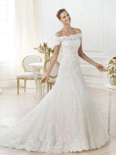 A-line/Princess Off the Shoulder Applique Sweep/Brush Train Lace Wedding Dresses, Short Sleeves Sash/Ribbon Wedding Dress