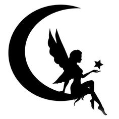 Fairy on Moon Stencil Made from 4 Ply Mat Board - Dibujos a lápiz Moon Silhouette, Fairy Silhouette, Silhouette Tattoos, Silhouette Vector, Geometric Pattern Tattoo, Pattern Tattoos, Small Fairy Tattoos, Nordic Pattern, 3d Pattern