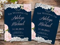 Navy blue Wedding Invitation Rustic wedding by DivineGiveDigital