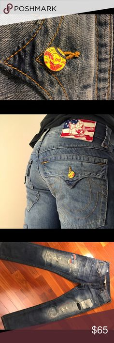 True Religion Jeans(On the Road)Vintage Ricky's Straight legs, American Indian detail, recycled embellishments, distressed. Lightly worn. True Religion Jeans Straight Leg