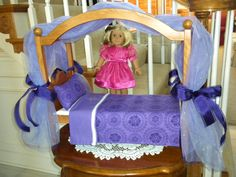 "Canopy Bed purple American Girl  Doll or 18"" doll."