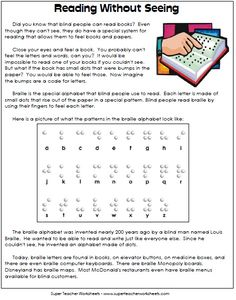 """""""Reading without Seeing"""" Learning Packet - Article about Braille, Braille Writing Activities, and a fun Braille Decoding Puzzle"""