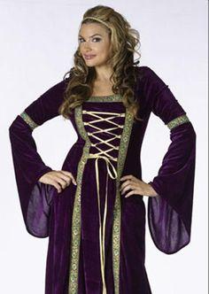 Medieval Lady Purple Velvet Gown Renaissance Costume #FunWorld
