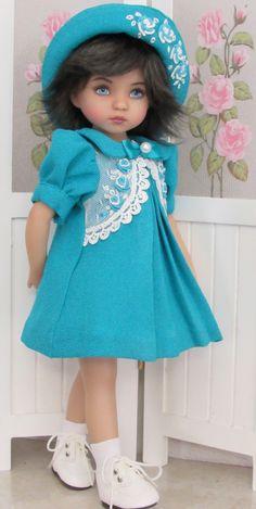 """Dress,bonnet&shoes set made for effner little darling 13"""" dolls"""