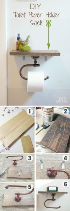 Easy to build DIY Toilet Paper Holder Shelf for rustic bathroom decor /istandarddesign/(Diy Ideas For The Home) #diydecoratingideasforthehome #easyhomedecor