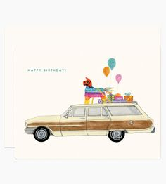 Illustrated by Dear Hancock. A colorful pinata, birthday presents and balloons tied to the top of a vintage station wagon.