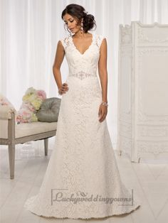 Elegant Cap Sleeves V-neck A-line Wedding Dresses with Illusion Back