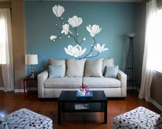 Large Magnolia Tree Branch Floral Flower Wall Decal Vinyl Sticker Home Decor Art - Size 1