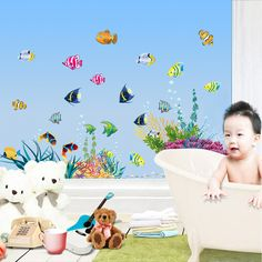 Amaonm Removable DIY Under the Sea Wall Decals Blue Grass and Fish Coral Wall Mural Multicolored Wall Stickers Murals Home Art Decor For Kids Room Girls Bedroom Playroom Nursery Room Wall Concer Wall Stickers Ocean, Wall Stickers Home Decor, Wall Stickers Murals, Mural Wall, 3d Wall, Wall Art, Kids Room Murals, Kids Room Wall Decals, Kids Room Art