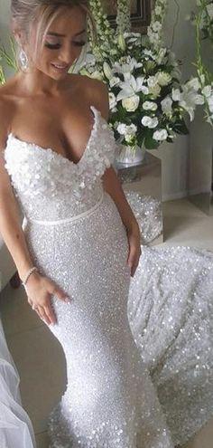 4c751e1845c8 White Sequin Applique Strapless Mermaid Train Wedding Dresses , AB1523