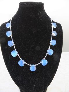 Opalite and pale blue/lavender crystal necklace by JewelInfinityBeyond on Etsy