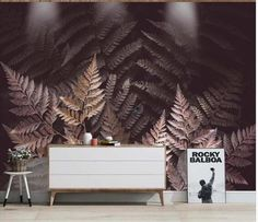 Handpainted Fern leaves Wallpaper Tropical Plants Dark Brown | Etsy Leaves Wallpaper, Wallpaper Paste, Custom Wallpaper, Photo Wallpaper, Wall Wallpaper, Open Wall, Cleaning Walls, Smooth Walls, Traditional Wallpaper