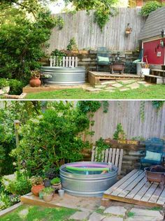 #5. The little stock tank pool is just the ticket for keeping cool. #outdoor bathroom.