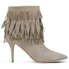 Aquazzura Beige Suede Fringed Ankle Boot ($995) ❤ liked on Polyvore