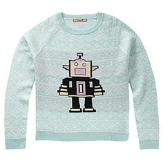 Light blue sweater ?4 hours only ?item will increase in the winter season. An item that has never been worn previously. A light blue sweater with a robot in the middle. Sweaters