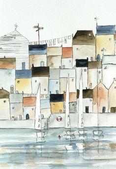 original watercolor painting of a harbor town. $85.00, via Etsy.
