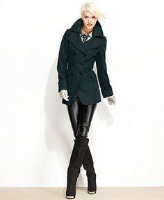 GUESS Coat, Wool-Blend Cutaway Pea Coat - Womens Coats - Macy's