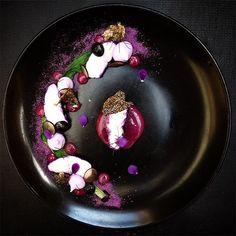 All things red cabbage meringuepowderpuree and Hake marinated in red cabbage vinaigrette  #theartofplating #thestaffcanteen #ChefsOfInstagram #gastoart #truecooks by malkieuk