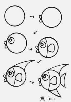 Apprendre à dessiner poissons - à Apprendre dessiner poissons tekenen - #easydrawings Easy Fish Drawing, Fish Drawings, Cartoon Drawings, Animal Drawings, Cute Drawings, Fish Drawing For Kids, Easy Drawings For Kids, Art For Kids, Drawing Lessons