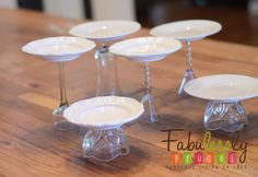 Make own cake stands with vintage plates and upside down cups/glasses