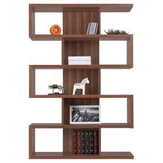 Film books and DVDs, with some sculptural objects mixed in. Zig and Zag Bookcase - Walnut $279.98