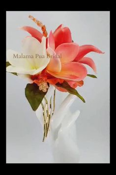 Tropical Tiger Lily, Plumeria, Swaarovski pearls and crystal leaves create this one of a kind Custom Wedding Headpiece Flower Headpiece, Wedding Hair Flowers, Hair Comb Wedding, Flowers In Hair, Silk Flowers, Flowers For You, Dream Hair, Tropical Flowers, Lily