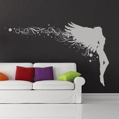 Angel Floral Wall Art Sticker Wall Decal