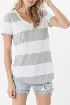 One striped tee is never enough. Crafted from our Signature Burnout fabric for a lived-in look, this tee features a relaxed fit for comfortable wear, a contrast V-neckline, short sleeves, a curved hem, and bold horizontal stripes.   Venice Striped Tee by Zsupply. Clothing - Tops - Tees & Tanks Minnesota