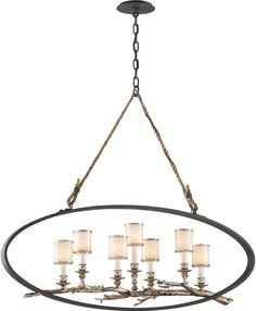 7 Light Linear Chandelier with White Pearl Glass Shade, Bronze with Silver Leaf - Ceiling Pendant Fixtures - Talk about your 'funky'!
