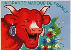 la vache qui rit la grande marque de france : 1955 affiches anciennes de RABIER Benjamin