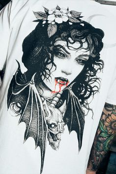 Drink the blood with our Countess Tee.  This blood sucking Stay Cold shirt comes with front backprint.  It is inspired by vampire tales and designed by tattoo artist f_bianco_art. Tattoo Artists, Tees, Inspiration, Collection, T Shirts, Biblical Inspiration, Tee Shirts, Teas, Inhalation