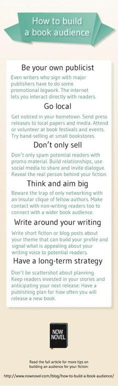 Writing a novel? Or finished writing the first draft? View this infographic on how to build a book audience and start building your reader fan base. Writing Advice, Writing Resources, Writing Help, Writing A Book, Writing Prompts, Editing Writing, Fiction Writing, Print On Demand, Software