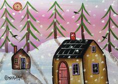 2 Cabins Winter 5x7inch ORIGINAL Canvas Panel PAINTING FOLK ART Karla Gerard ..new painting, for sale now... #FolkArtAbstractPrimitiveLandscape
