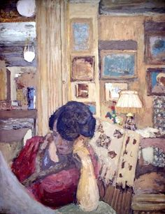 ✉ Biblio Beauties ✉ paintings of women reading letters & books - Edouard Vuillard | Mme. Hessel Seated in Front of a Glassed Armoire, 1906