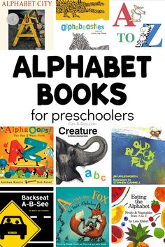 Check out these amazing alphabet books for preschoolers! From simple ABC books to books that help kids think critically about letters - what a list! Early Learning Activities, Rhyming Activities, Toddler Learning, Preschool Lesson Plans, Preschool Books, Preschool Centers, Preschool Literacy, Teaching The Alphabet, Learning Letters