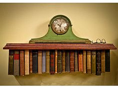 creative wall shelf using vintage books